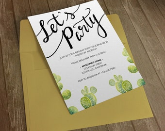 Party Invitation - Cactus Watercolor Mod Theme