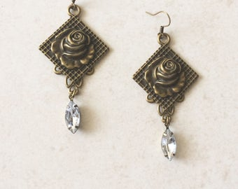 Vintage Rose Rhinestone Earrings, Brass Metal Flower Earrings