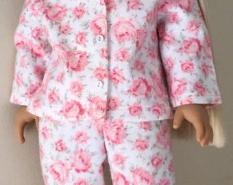 Fits American Girl doll:  flannel pajamas and puppy slippers