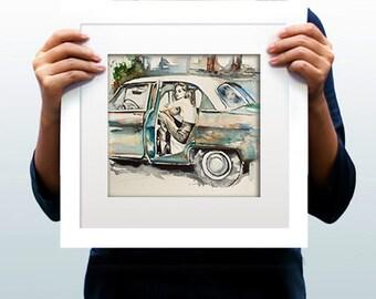 Watercolor Print - Romance. Erotic art print of female in car.