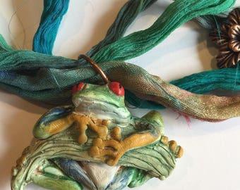 Amazon Tree Frog Necklace ~ Poison Dart Frog Pendant ~ Handmade Polymer clay necklace ~ Adjustable Sari Silk Ribbon ~ Jungle Jewelry