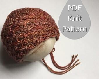 PDF Knit Pattern #0050 The Ariel Knit Bonnet, Newborn, Knit PDF Pattern, Tutorial, Knit Pattern, Experienced,Instruction,Newborn