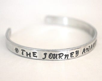 The journey awakens the soul, quote bracelet, positive message, Aluminum bracelet, Inspirational Jewelry, jewelry with meaning, made in ohio
