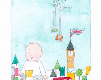 Hello Baby - Giclée Watercolor Print for Children's Bedroom Decor