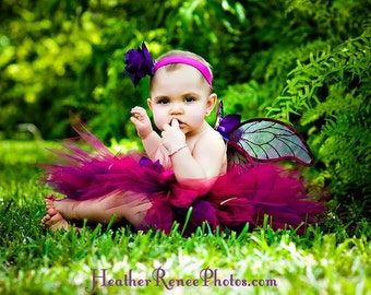 Girls Tutu and Wings Custom Fairy Costume, Black Cherry Garden Pixie, 3 piece set, 11'' pixie tutu, handmade fairy wings, and headband