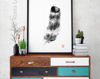 Feather drawing Living room bedroom decor Black and white illustration art Contemporary wall art decor Feather watercolor painting Art print