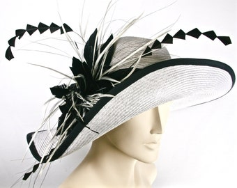 WIDE BRIM Ivory Kentucky Derby Hat, Women's Hat with Feathers, White Asymetrical Brim Hat