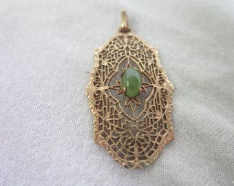 Antique Victorian Filigree Gold Filled & Jade Center Stone Necklace Pendant