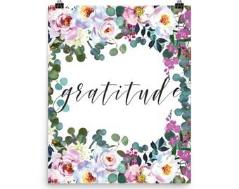 Gratitude Poster | Gratitude Print | Gratitude | Grateful | Grateful Print | Print | Art Print | Grateful Print | Home Decor