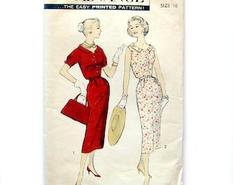 Vintage 1950s Advance Pattern 8262 / Women's Bloused Shirtwaist Sheath Dress / Day Dress / Evening Dress / Rockabilly Dress / Size 16