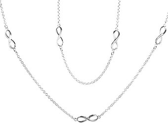 925 Sterling Silver Petite Infinity Symbol Chain Necklace 30 inches