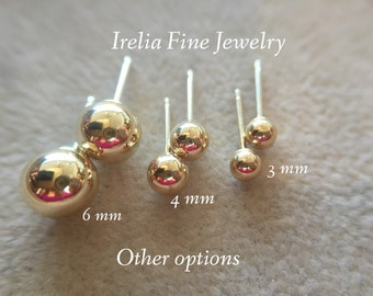 14k Yellow Gold Ball Stud Earrings LIGHTWEIGHT with 14k Gold Backs 3mm to 7mm  --Ready to Ship--