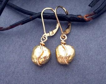 Gold Drop Earrings Gold Tone Gold Nugget Earrings, 14k Gold Filled Leverbacks, Small Gold Earrings Minimalist Modern Jewelry