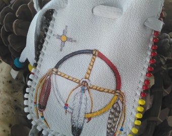 Wheel and Feathers Medicine Bag