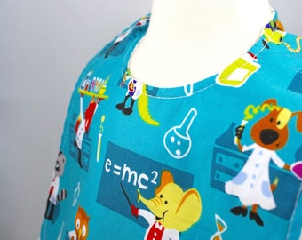 Reversible baby bib, eco friendly, hand made, science, lab, test tube, beaker, lab coat, reversible bib, worms, bugs, baby gift