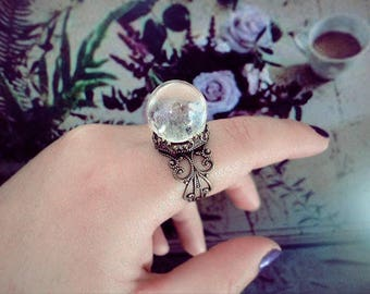 Crystal Ball Ring, Quartz Crystal Ring, Vintage Ring, Fairy Ring, Oracle Ring, Adjustable Ring
