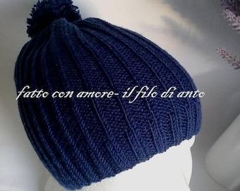 Merino wool hat 100% with pom pom