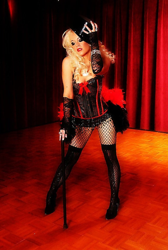 DIVA Burlesque dress Showgirl costume red black ringmaster gothic corset