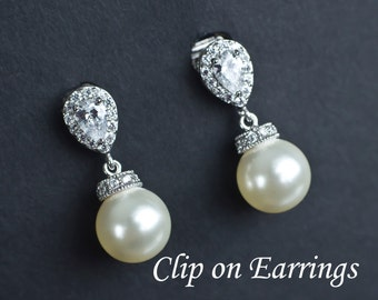 CLIP ON Bridal Earrings, Cubic Zirconia and Swarovski Pearls Clip On Earrings, Bridal Earrings, Bridesmaids Earrings, Clip On Bridal Earring