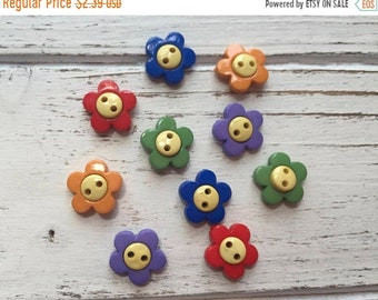 """SALE Flower Buttons, Packaged Novelty Buttons """"Primary Flowers"""" #2101 by Buttons Galore, Assorted Colors, Sew Through, 2 Hole Buttons"""