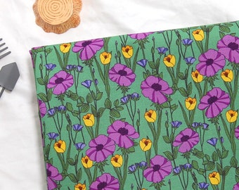 Purple Poppy  ,Cotton 100% fabric, by Yard, DTP print