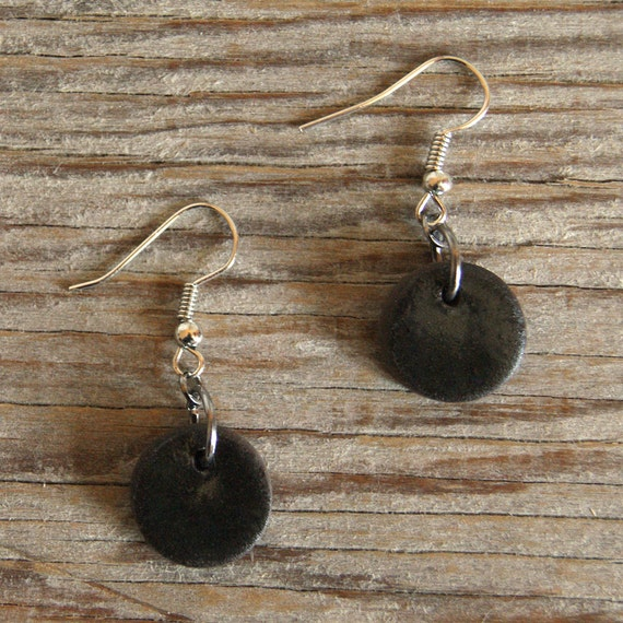 SMALL glossy black round stoneware drop earrings