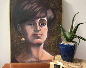 Vintage Mid Century Modern Original Portrait Painting, Mid Century Modern Lady Portrait, Vintage Original Oil Painting, Vintage Art