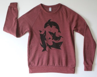 pacific northwest ORCA whale wine maroon HEATHERED sweatshirt TILIKUM size xs-xxl Portland Seattle
