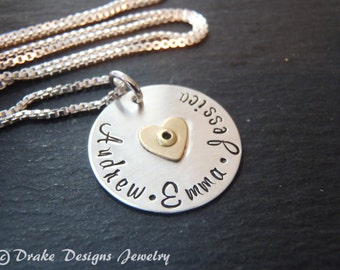 Mixed metal mom necklace kids name sterling silver hand stamped mothers necklace personalized gift for mother