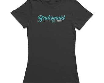 Bridesmaid Bow Graphic Women's Black T-shirt