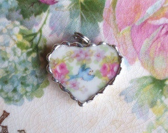 Vintage Broken or Shabby China Sweet Bluebird Blue Bird of Happiness Bracelet Charm or Pendant-Help feed the birds-Over the Rainbow-