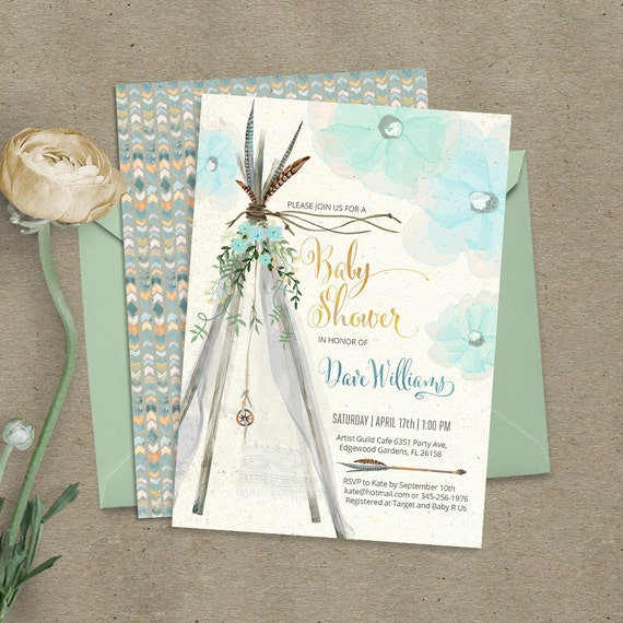 High Quality Teepee Bohemian Baby Shower Invitation. Digital Files. Feathers, Tipi,  Tribal, Boho, Watercolor, Pow Wow, Beach. Customised By Me. 089CMP