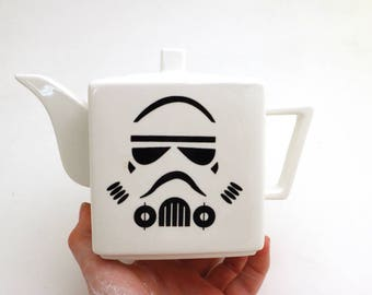 Star Wars (R) Teapot, Storm Trooper (R) personal teapot, square upcycled modern, gift for fan and tea drinker