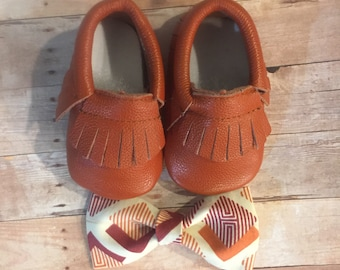 Orange and Rust leather moccasins and bow tie