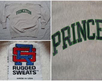 Vintage Retro Men's 90's Reverse Weave Princeton University Sweatshirt Grey Green Blue Spell Out Rugged Sweats Ivy League Large Made in USA
