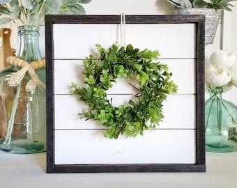 Shiplap Frame With Boxwood Wreath. Shiplap Sign. Shiplap Display. Shiplap Wall Decor. Shiplap Wreath. Shiplap Wreath Frame.
