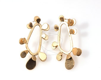 ERG-021-MG/4Pcs-Gear/ 20m x 33mm /Post Earring /Ear Climbers Earring-Gold Plated over Brass/925 sterling silver post