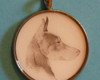Doberman Pinscher Original Pencil Drawing Pendant with Organza Pouch -Choice of Necklaces -Free Shipping- Desert Impressions