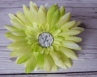 Light Green Sparkly Gerbera Dash Daisy Flower With Wooden Bee Ladybug Gem or Your Initial VW Beetle