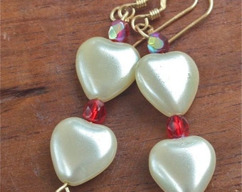 Romantic earrings white pearl hearts and red swarovski crystal earrings  HEART   valentines love mother's day