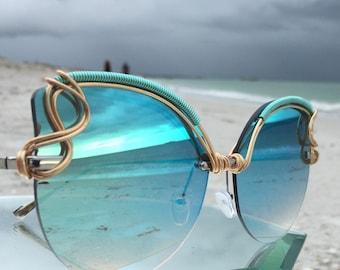 New Style Teal Reflective CAT EYE Sunglasses / SPUNGLASSES / One of a Kind Glasses Eyewear Sunnies / Retro Mod Artisan Glasses Sun Glasses