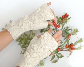 Knit fingerless gloves Tree Of Life - Rustic Wedding wrist warmers ecofriendly - hand knit organic merino wool gloves