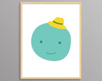Nursery Print - Mr. Moon - a Scandinavian modern design print // 8.5x11 or 13x19 // nursery or kids room wall art // boy nursery decor