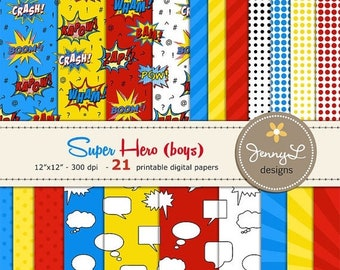 50% OFF Superhero Digital Paper, Comics, Super Hero, Cartoons, Comic Book, Action Words, Comic Sound Effects Printable Digital Background Pa
