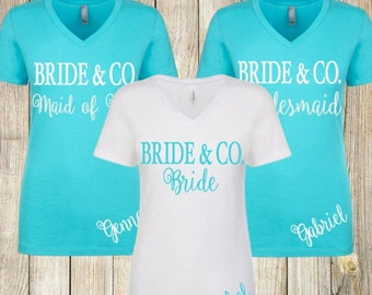 Bridesmaid Shirts Personalized Bride and Company Bachelorette Wedding Shirts Tees Maid of Honor Monogrammed
