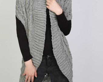 Hand knit long vest sweater Wool cadigan grey woman sweater