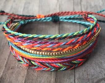 Pack of 3 string bracelets, stackable bracelet, wax string bracelet, bracelet, bracelets, friendship bracelet, string bracelets - Surfer 1