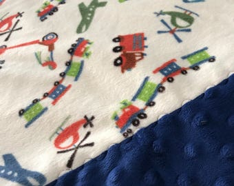 Travel Pillowcase - Transportation Print Minky with Blue Dimple Dot Minky Border - great for a Toddler or Travel Pillow