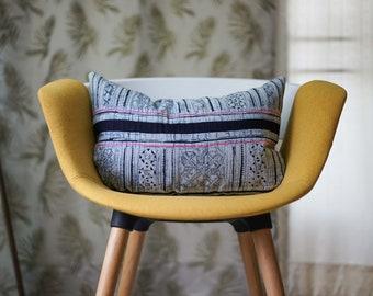 "12"" by 20"" Vintage Lumbar Hmong Hill Tribe Cushion Cover Ethnic Batik Thai"