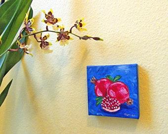 Pomegranates on a Mini Canvas, 4X4 Original Painting, Art for the Kitchen, Still Life, Jewish Artwork, Judaica Wall Art, Rimonim, Canvas Art